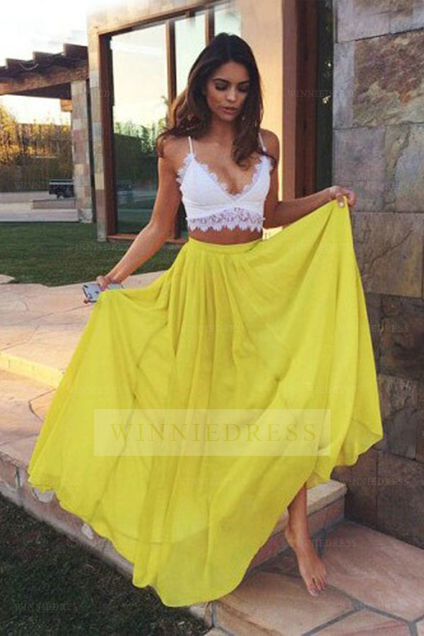 Sexy Spaghetti Straps White Crop Top Yellow Chiffon Skirt Sheath Floor Length Two Piece Prom Dress WNPD0569