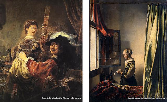 O Filho Pródigo na Taverna, de Rembrandt, e Moça Lendo uma Carta diante da Janela, de Vermeer