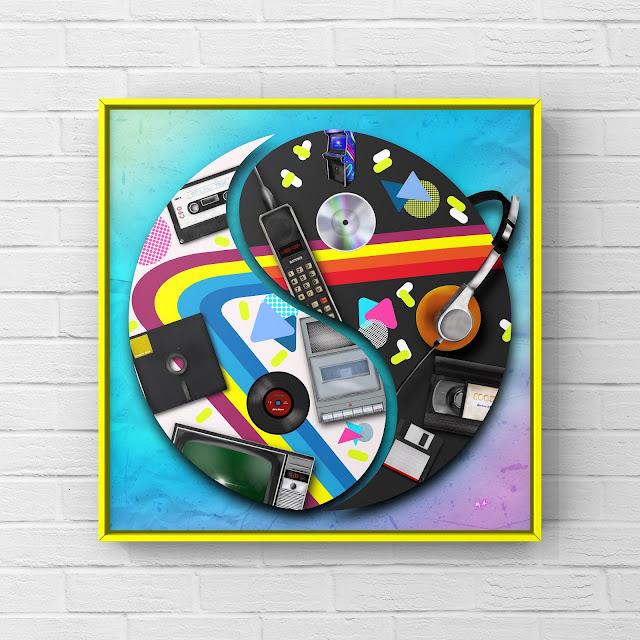 80s technology yin and yang art