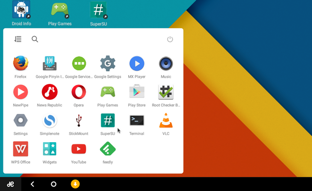 start menu (logo Jide)