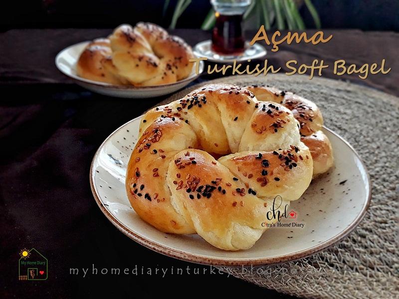 Açma / Turkish soft bagel | Çitra's Home Diary. #turkishfoodrecipe #açmatarifi #resepmasakanturki #simit #turkishbagel #softbread #softbagel #breakfast