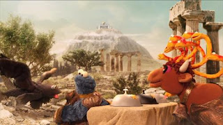 Sesame Street Cookie's Crumby Pictures Nosh of the Titans. Cookie Monster is going to meet his father Zeus, but must make it past Moodusa first.