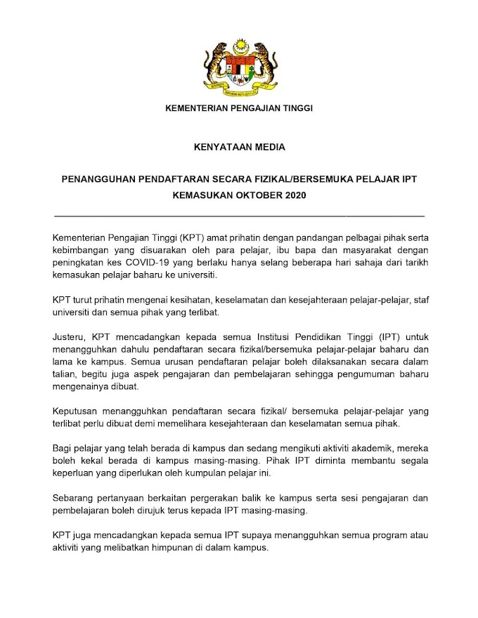 PENANGGUHAN PENDAFTARAN SECARA FIZIKAL/ BERSEMUKA PELAJAR IPT KEMASUKAN OKTOBER 2020