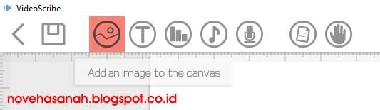 menu add an image atau tambahkan sebuah gambar pada tutorial menggunakan fitur pada tombol menu add image (tambah gambar) sebagai elemen video animasi di VideoScribe