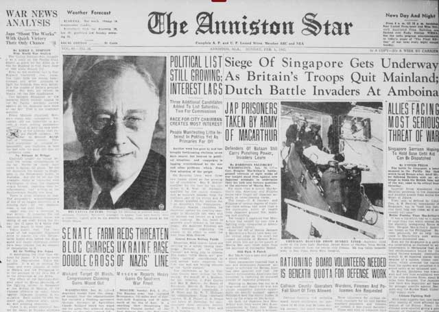 The Anniston Star of Alabama of 1 February 1942 worldwartwo.filminspector.com