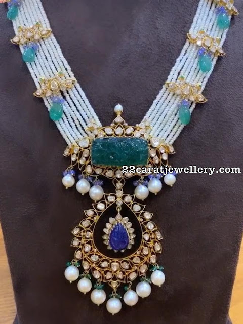 Curved Emerald Sapphire Long Chain