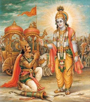 Gita Jayanti Krishna rendering Bhagavad Gita to Arjuna