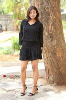 Actress Hebah Patel Stills in Black Mini Dress at Angel Movie Teaser Launch  0078.JPG