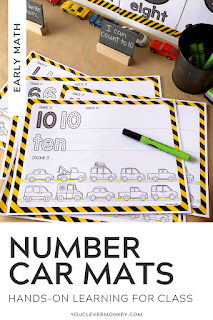 Use these road transportation themed number posters to create an engaging display in your preschool or pre-k class! Or create hands-on, kinesthetic activities for young children to interact with as they learn to write the numerals 0-10! Practice numeral formation, number identification and sequencing. Just choose from the two different designs and print to play #preschoolmath #kindergartenmath