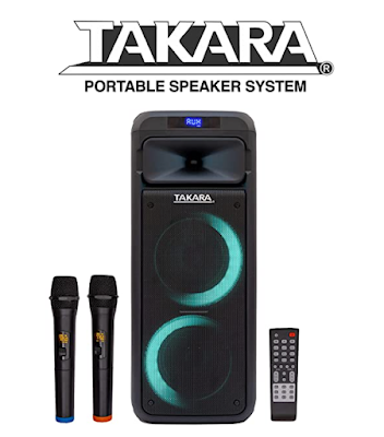 Takara Portable Karaoke Party Speaker for Indoor and Outdoor Use with Rechargeable Batteries