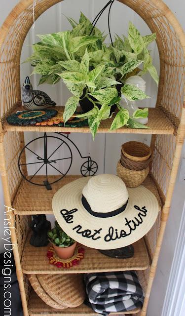 Neutral Boho Entryway! Vintage wicker shelf plants