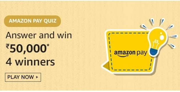 Amazon Pay Quiz Answers Today Win Rs.50,000. Amazon Pay Quiz Answers. Answers Are The Amazon Pay Quiz
