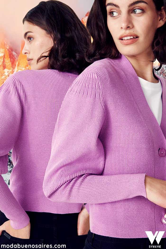 saquito tejido color lila moda invierno 2021