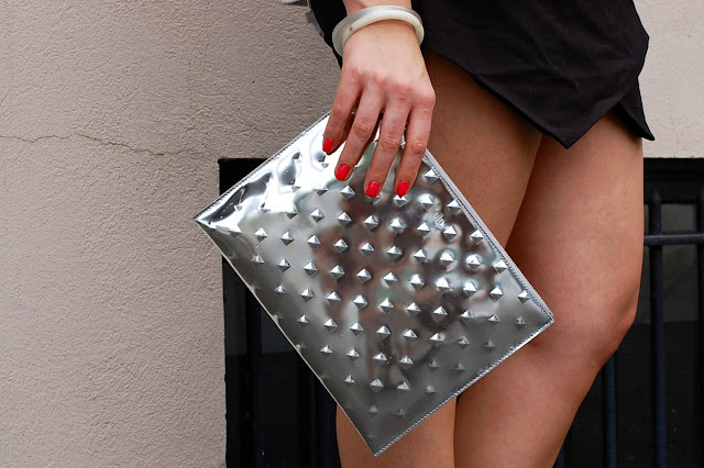 Ela Handbags Editor's Pouch mirror ball.