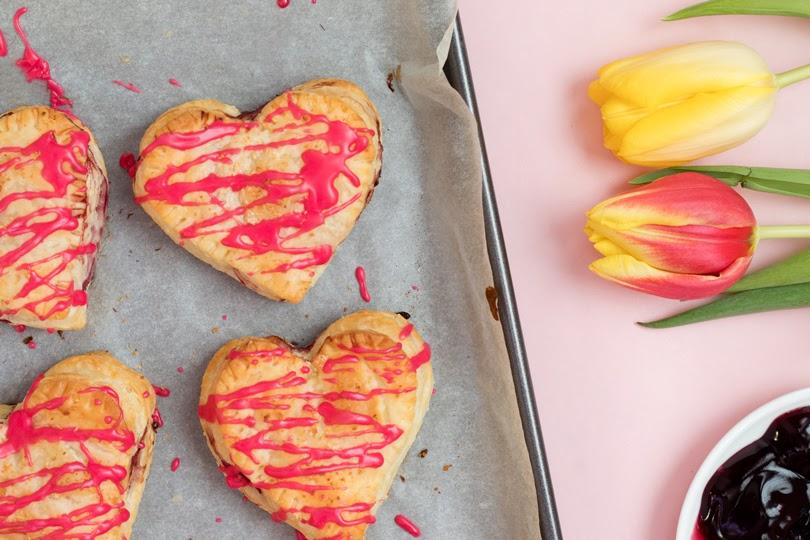 vegan heart cherry turnovers