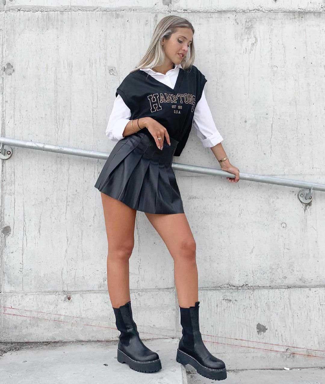 pollera engomada tableada moda juvenil invierno 2021