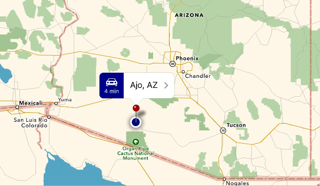 Map of southern Arizona