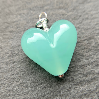 Handmade lampwork glass heart bead pendant by Laura Sparling made with CiM Lady of the Lake