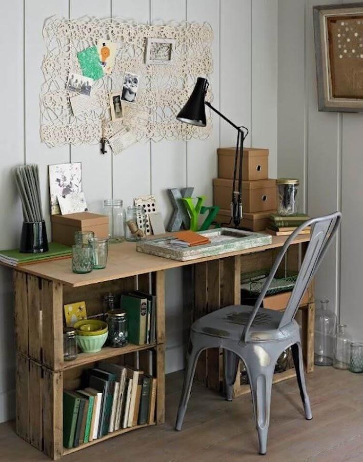 Reciclar cajas de vino y transformarlas en un escritorio