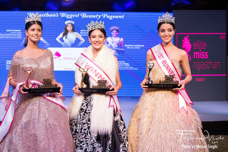 Winner of Elite Miss Rajasthan 2020 - Isha Agarwal 1st Runner Up - Divija Gambhir 2nd Runner Up - Riya Sain