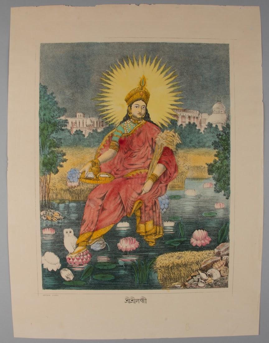 Goddess Lakshmi, Lithograph Print, Oriental Studio, c1880