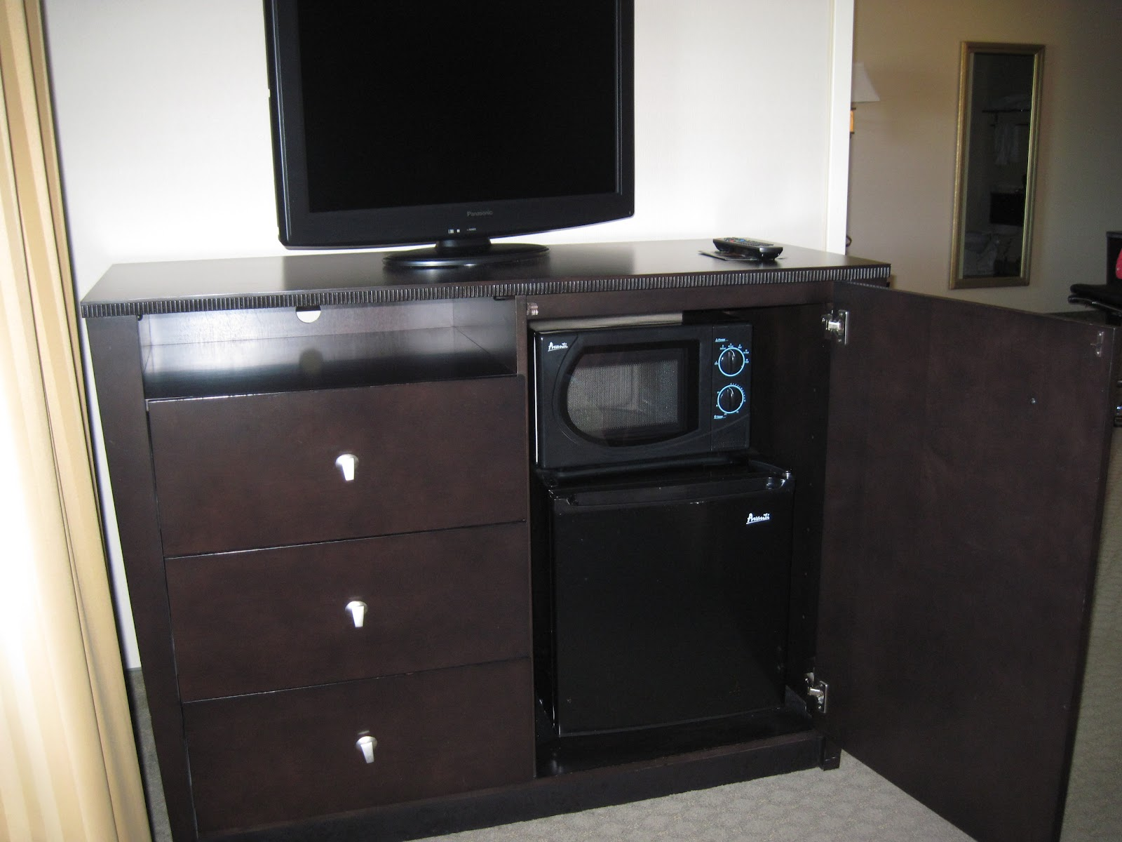 Hotel Mini Fridge and Microwave Cabinet
