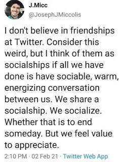 Quote @JosephJMiccolis on online friendship Twitter
