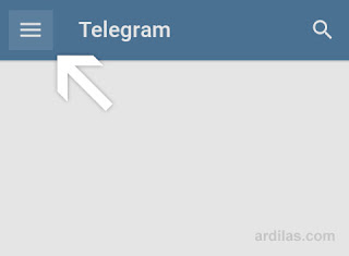 Telegram - Menu tanda garis tiga - Cara Membuat Grup Telegram di Android Komputer dan Web