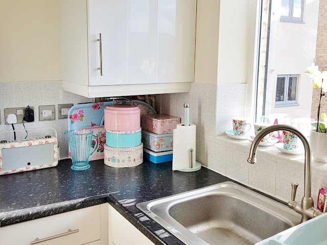 floral tins in kitchen