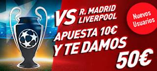 Sportium apuesta 10€ a Final Champions ganes o pierdas 50€ regalo 26 mayo