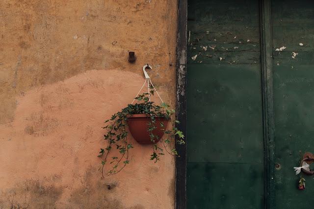rustic streets in genova, italy
