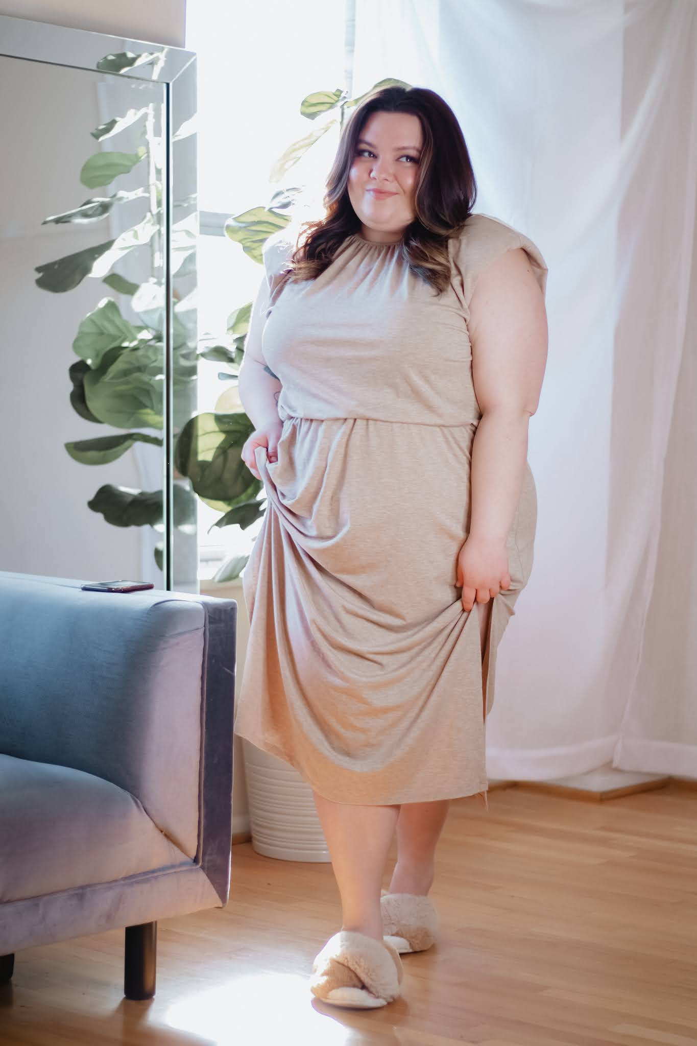 Chicago Plus Size Petite Fashion Blogger Natalie in the City plus size at home outfits work from home clothes lounge dresses