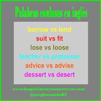 Diferencia entre borrow y lend y otras palabras que confunden en inglés, Diferencia entre borrow y lend, Diferencia entre suit y fit, Diferencia entre teacher y professor, Diferencia entre advice y advise, Diferencia entre dessert y desert