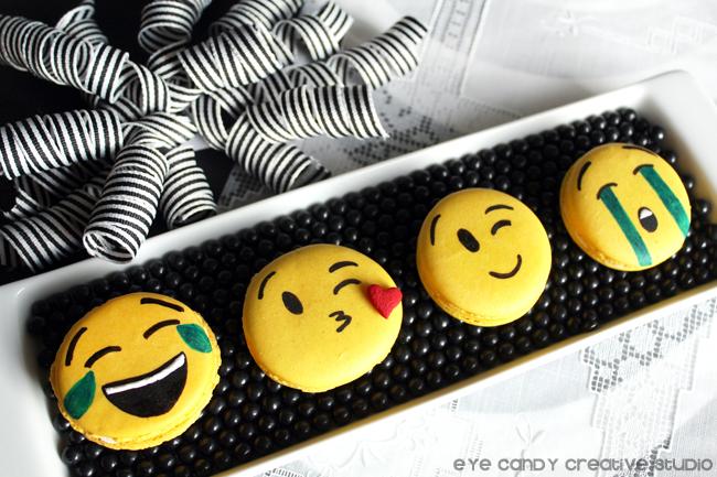 emoji macarons, laughing emoji, winking emoji, kissing face emoji