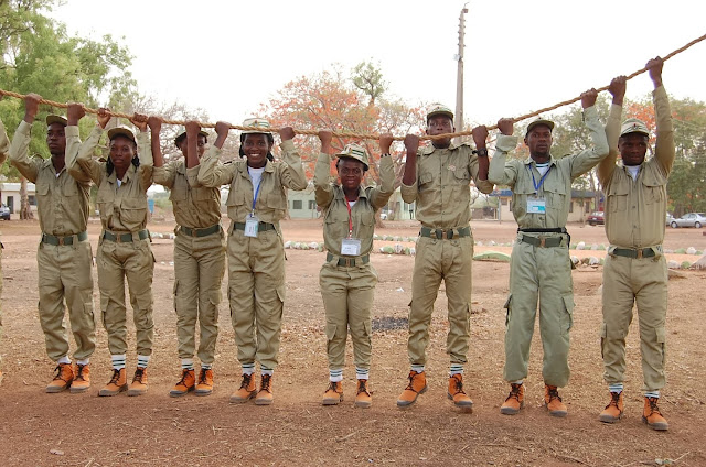 Nysc man'o war drill on camp