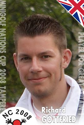 Richard Gottfried's player card at the 2008 Nations Cup in Tampere, Finland