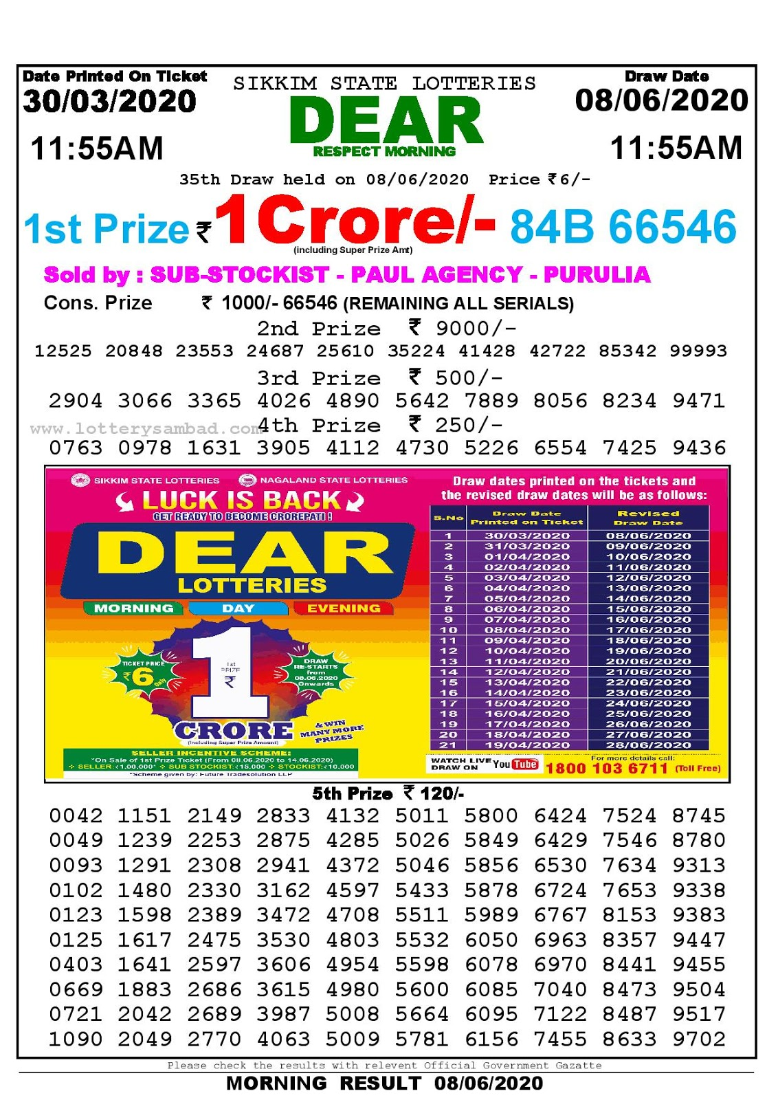 Lottery Sambad Today 30.03.2020 Dear Respect Morning 1155 am