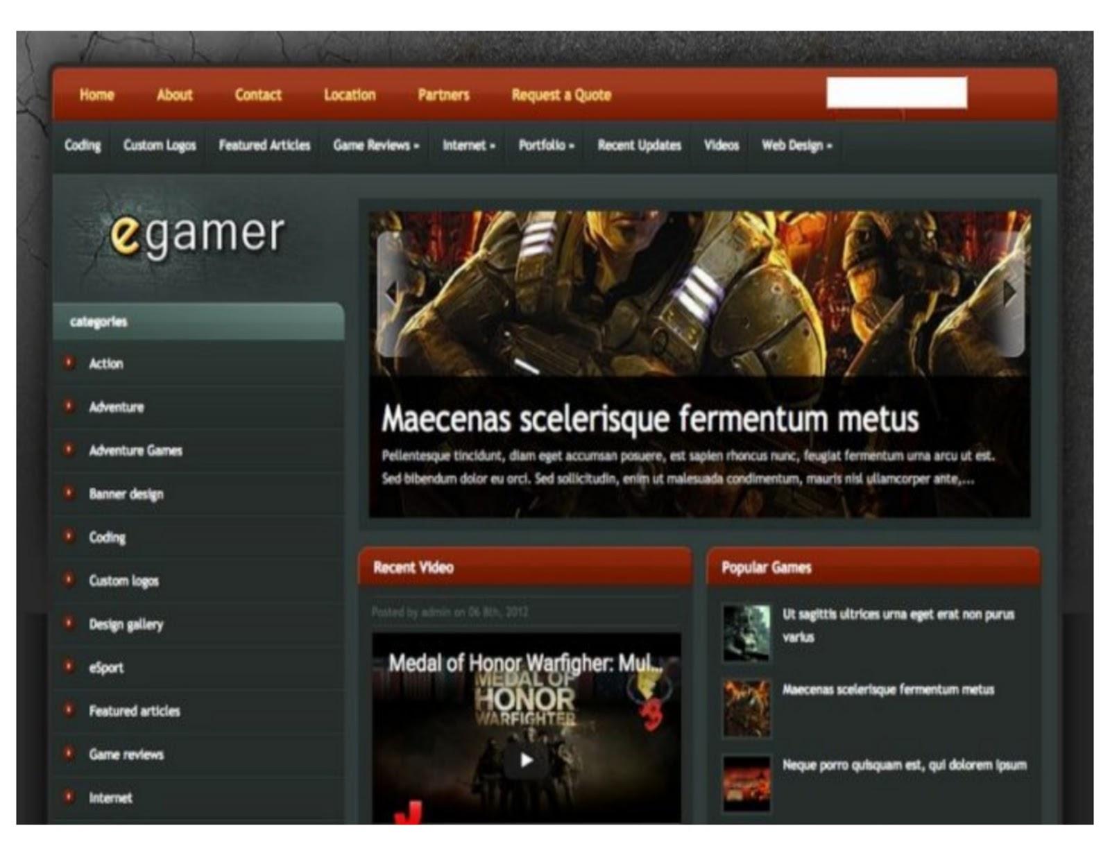 E-Gamer Blogger Template