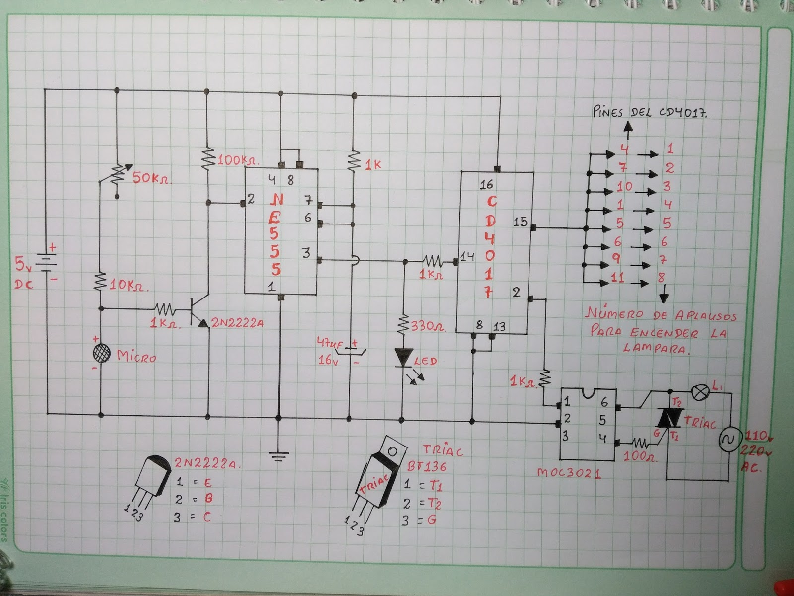 Circuito Electrico Simple Diagrama : Circuito interruptor con aplausos programable desde hasta