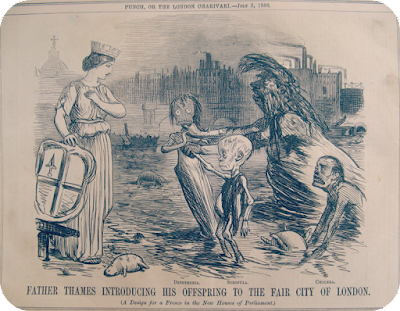 Contemporary political sketch - 'Father Thames introducing his offspring to the fair city of London.'