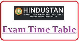 Hindustan University Exam Date Sheet 2020