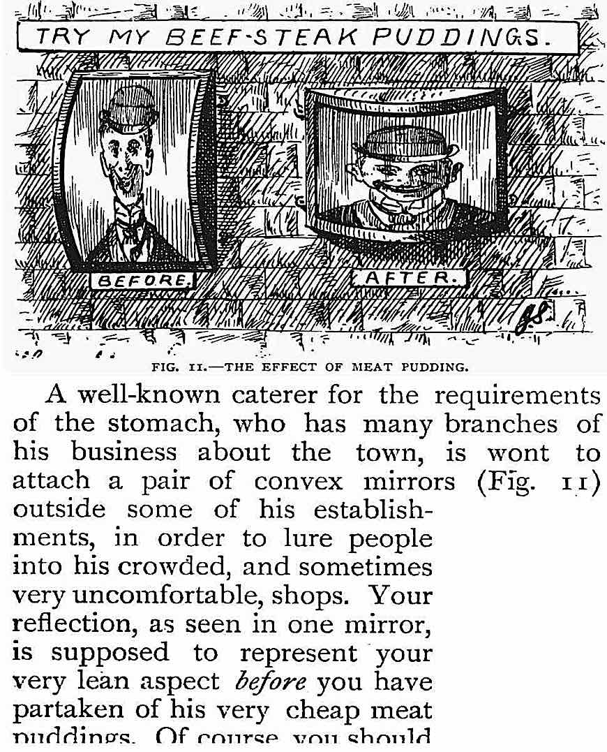 1895 curved novelty mirrors outside of eating shops reflected the customer before and after eating