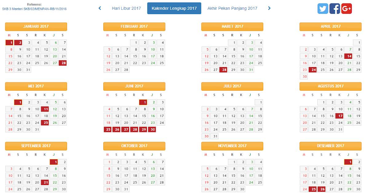 Unduh Kalender 2017 Plus Jadwal Libur Nasional Dan Libur