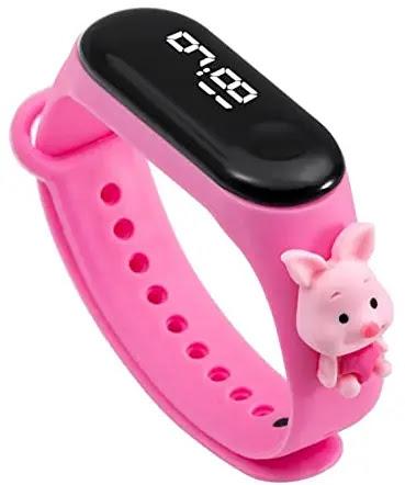Sonal Enterprise New LED Digital Sport Wristband Fashion Cartoon Silicone Kids Watch | Kids Watch with Cartoon Strap (Pink)