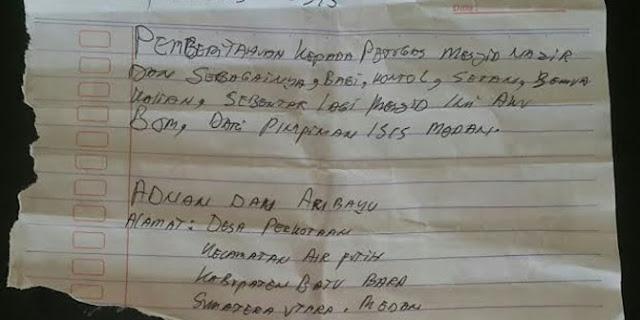 Petugas Mesjid Temukan Surat atas nama ISIS di dalam Kotak Amal