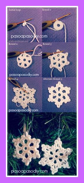 diy_ cómo hacer copos de nieve tejidos al crochet