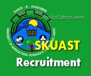 SKUAST Jammu Jobs Notification 2019