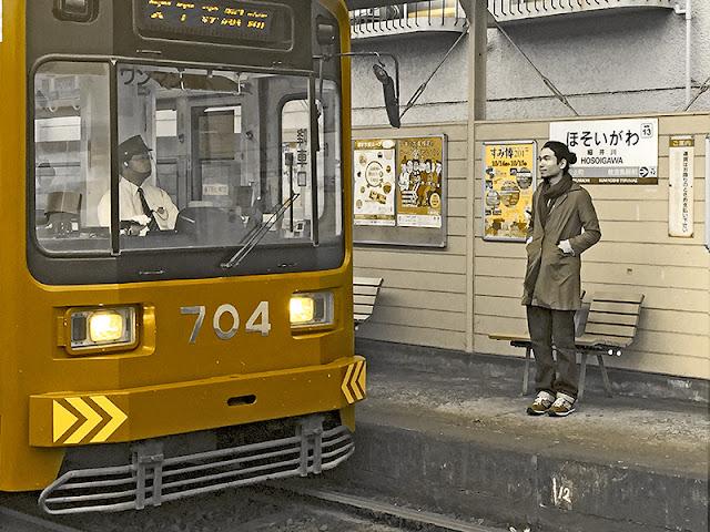 Ben Liu, Male waiting for Japanese train at Hosoigawa station, Osaka