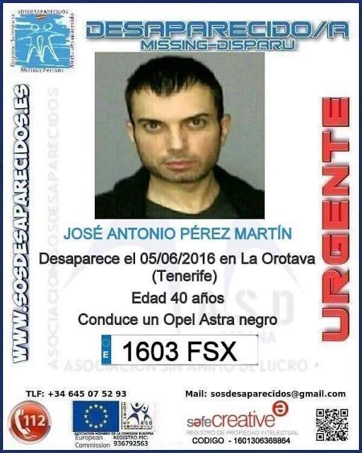 José Antonio Pérez Martín, desaparecido en La Orotava, Tenerife