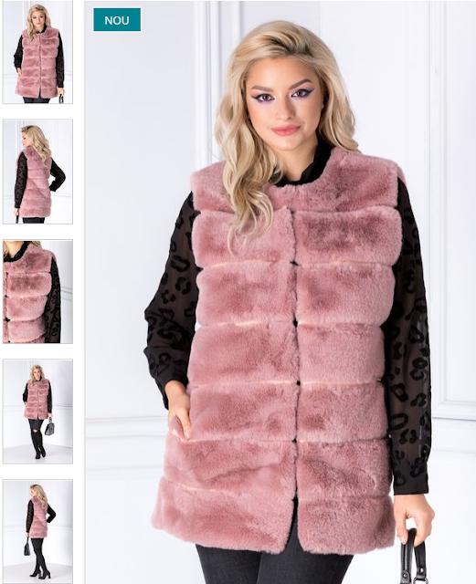 Vesta de iarna de dama groasa eleganta roz prafuit din blanita